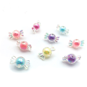 50pcs Acrylic Multicolor candy Beads Beaded Spaced Bead Bracelet Jewelry Making