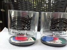 Seminole Casino Immokolee Glasses New barware Features Cards/Chips Clear & Black