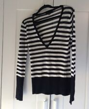 Black & White Striped Deep V Neck Jumper - S-M - AS NEW!!