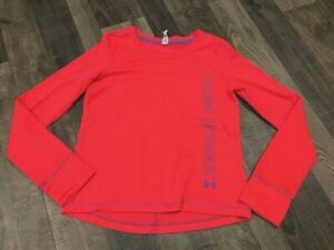 Under Armour All Season Gear Bright Coral Long Sleeve Top Size YMD EUC