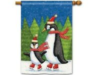 Ice Skating Penguins Decorative House Flag