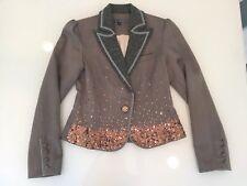 True Meaning Jacket BlazerWomen Tan Brown Tweed Sequin Velvet Size 4