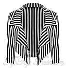 Donna Bianco E Nero Striscia Verticale Manica 3/4 Cascata Crop Blazer Giacca Top