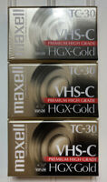 Maxwell VHS-C TC-30 HGX-Gold Premium High Grade Video Tapes Lot of 3 New Sealed