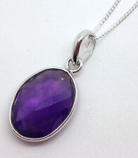 Amethyst oval pendant solid Sterling Silver, Actual One, UK Seller, Chain,
