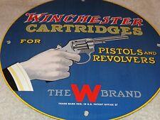 """VINTAGE 1957 WINCHESTER CARTRIDGES PISTOL REVOLVER 11 3/4"""" PORCELAIN METAL SIGN!"""