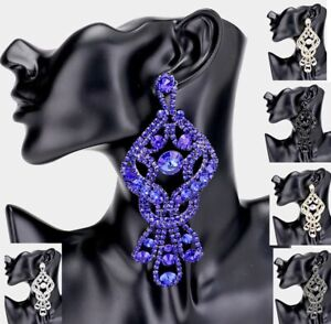 Chunky Oversize Crystal Wedding Pierce Rhinestone Bow Cocktail Long Earrings SUN