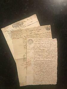Original MANUSCRIPTS~ITALY-1713;1806;1814-SARDINIA-DU PO-3 docs #01742