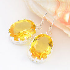 Genuine Square Cut Golden Citrine Gemstone Silver Dangle Hook Earrings For Xmas