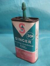 Singer Sewing Machine Oil Can 4 oz Collectible Tin 30c Full Vintage