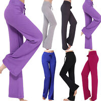 Women Yoga Baggy Stretch Flared High Waist Wide Leg Long Pants Palazzo Trousers~