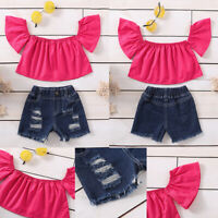 ❤️ Toddler Kids Baby Girls Off Shoulder Tops+Jeans Denim Shorts Pants Outfit Set