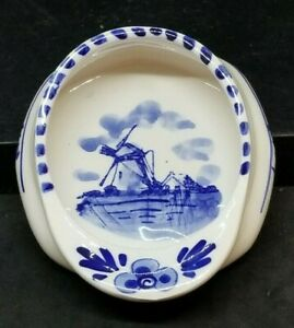 """Delft Blue Nappy Porringer Bowl Dutch Faience Hand Painted Marked 5"""""""