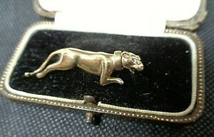 Attractive Vintage 9ct Gold & CZ Dog Brooch  -  Greyhound c.1970/80s