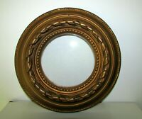ANTIQUE LARGE ROUND GILT WOOD PICTURE FRAME FOR PAINTING PLATE MINIATURES 11,5''