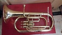 BARITONE MADE OF PURE BRASS IN BRASS POLISH + MOUTHPC HARD WOOD CASE+ FREE SHIP