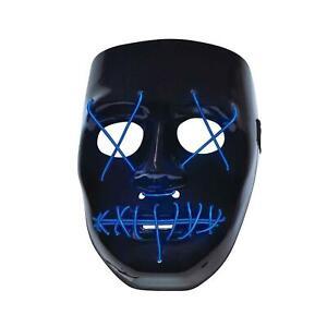 Anarchy Blue Light-Up Mask Led Halloween Purge Horror Stitches Mask