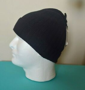 Murano Men Hat Extra Fine Merino Wool Black Rib knits NWT
