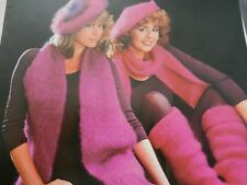 Knitting Pattern Girls Womens Beret Scarf Leg Warmers Mohair Vintage