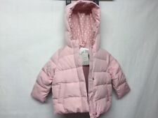 NWT Baby Gap Pink warmest down peplum puffer jacket with fur $88 Size 2yrs