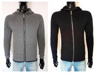 felpa uomo invernale cappuccio zip e tasche grigio nero made italy S M L XL XXL