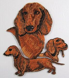 Golden Dachshund heat seal embroidered badge
