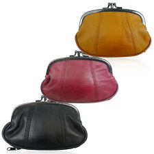 Super Soft Real Leather Compartment Clasp Coin Change Purse Pouch