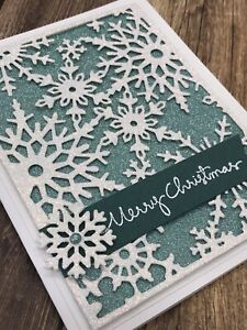 Stampin' Up Christmas Card Kit - Snowflakes, Peacock, Teal, White Glitter