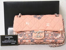 rk5118 Auth CHANEL Pink Quilted Cotton Canvas CC Double Chain Shoulder Bag