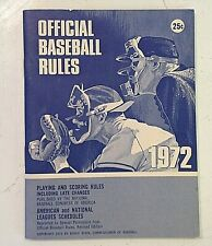 Vintage 1972 Official Baseball Rules American National League Schedules Booklet