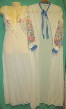 Vtg 80's M Stardust Night Gown Robe 2 pc set Lace Peignoir Nylon Butterfly Sheer