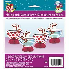 "Mad Hatters Tea Party Girl Tableware 6"" Mini Honeycomb Table Decorations X4"