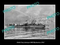 OLD LARGE HISTORIC PHOTO POLAND MILITARY POLISH NAVY SHIP ORP BLYSKAWICA c1943