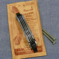 Vintage Amerock EO8260 Chrome & Black Art Deco Cabinet Drawer Pull Handle NOS