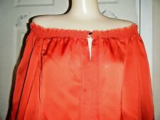 NWT WHITE HOUSE BLACK MARKET RED SILK OFF SHOULDER LONG SLEEVE TOP SIZE XL $94