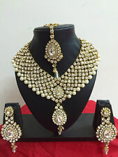 Indian Bollywood Diamante Pearl Gold Tone Necklace Earring Costume Jewellery Set
