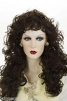 Dark Brown Brunette Long Wavy Curly Wigs