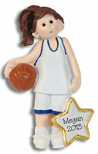 Female BASKETBALL PLAYER Personalized Ornament Hand PAINTED RESIN by Deb & Co