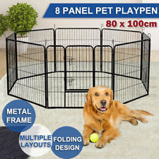 8 Panel 100 Cm Heavy Duty Pet Dog Playpen Puppy Exercise Fence Enclosure Cage