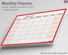 MONTH PLANNER Wall / Desk Monthly Planner, For Any Month/Year ✔Double Sided, A4