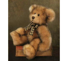 Russ Berrie Co. Ltd. Madison Teddy Bear Brown Faux Mink Checkered Ribbon 10""