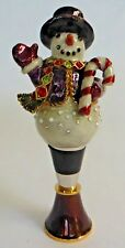 Jay Strongwater Lloyd Snowman Wine Stopper Figurine New in Box Swarovski Crystal