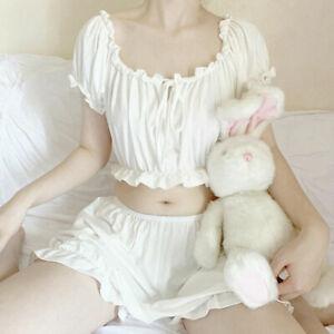 Lady Girls Lolita Top & Bloomer Ruffle Sleepwear Nightie Pajamas Japanese Kawaii