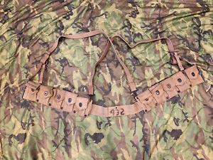 WW2 USMC M1923 Cartridge Belt BOYT 1944 w P41 Khaki Suspenders - WWII M1 Garand