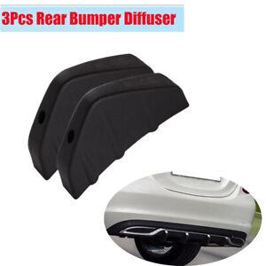 New 3Pcs Auto Car Modified Rear Bumper Diffuser Molding Point Garnish Black PVC