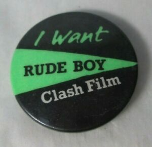The Clash Rude Boy Vintage Original 1980 Official  Pin Button Punk New Wave