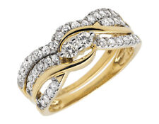 14K Yellow Gold Forever Us 2 Stone Real Diamond Engagement Bridal Ring Set .75ct