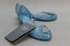 BNWT DISNEY STORE Girl's Blue Frozen Elsa Fancy Dress Shoes UK9-10 EU27-28