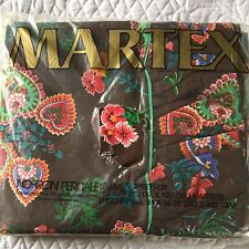 Vintage Martex Full Flat Sheet  HTF Rare Rubaiyat Heart  Flowers Brown NIP