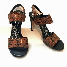 TIBI NEW YORK Brown with Black Snakeskin Embossed Leather Sandal Heels Size 6.5